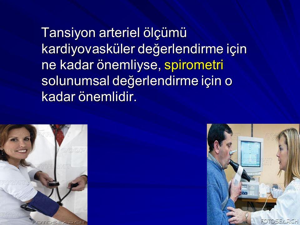 Tansiyon arteriel ölçümü kardiyovasküler değerlendirme için ne kadar önemliyse, spirometri solunumsal değerlendirme için o kadar önemlidir. Tansiyon a