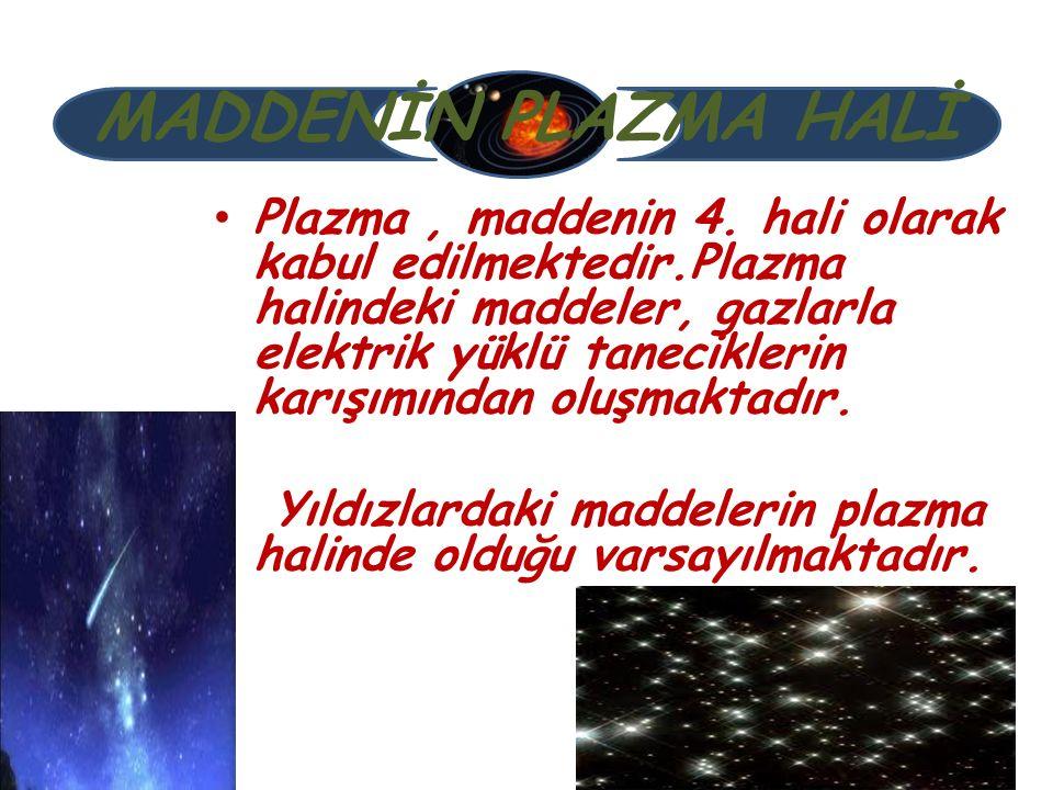 MADDENİN PLAZMA HALİ Plazma, maddenin 4. hali olarak kabul edilmektedir.Plazma halindeki maddeler, gazlarla elektrik yüklü taneciklerin karışımından o