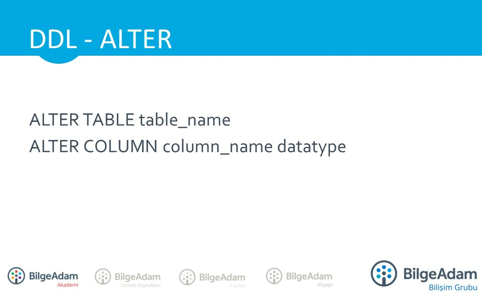 ALTER TABLE table_name ALTER COLUMN column_name datatype DDL - ALTER