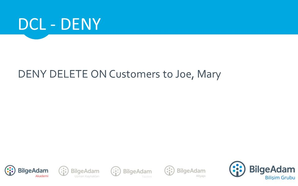 DENY DELETE ON Customers to Joe, Mary DCL - DENY