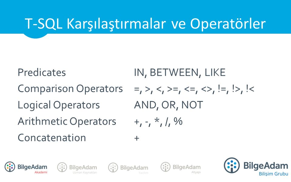 PredicatesIN, BETWEEN, LIKE Comparison Operators=, >, =,, !=, !>, !< Logical OperatorsAND, OR, NOT Arithmetic Operators+, -, *, /, % Concatenation+ T-SQL Karşılaştırmalar ve Operatörler