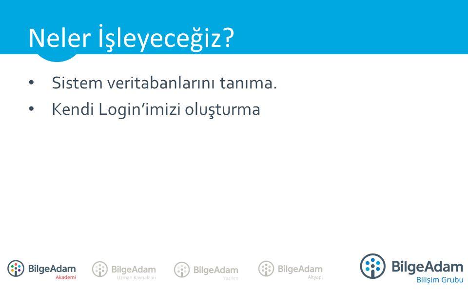 Sistem veritabanlarını tanıma. Kendi Login'imizi oluşturma Neler İşleyeceğiz