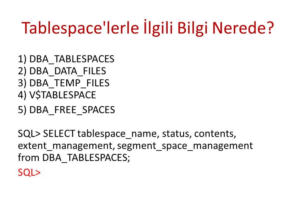 Tablespace'lerle İlgili Bilgi Nerede? 1) DBA_TABLESPACES 2) DBA_DATA_FILES 3) DBA_TEMP_FILES 4) V$TABLESPACE 5) DBA_FREE_SPACES SQL> SELECT tablespace