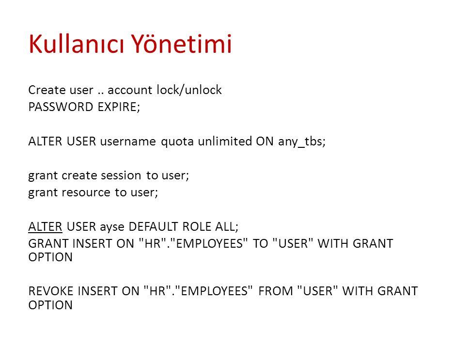 Kullanıcı Yönetimi Create user.. account lock/unlock PASSWORD EXPIRE; ALTER USER username quota unlimited ON any_tbs; grant create session to user; gr