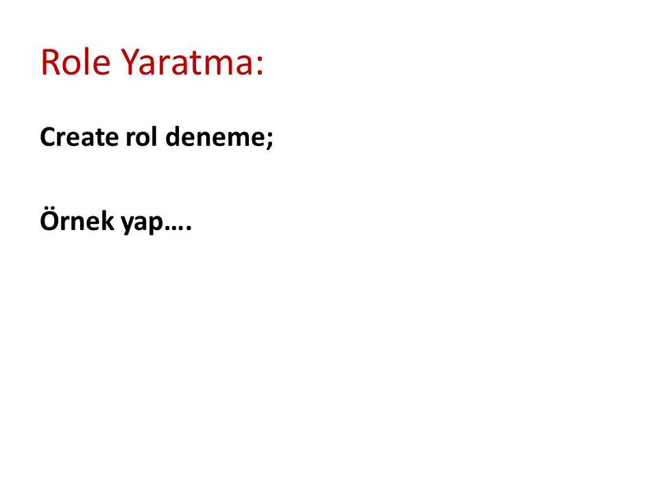 Role Yaratma: Create rol deneme; Örnek yap….