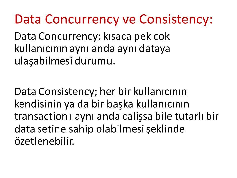 Data Concurrency ve Consistency: Data Concurrency; kısaca pek cok kullanıcının aynı anda aynı dataya ulaşabilmesi durumu. Data Consistency; her bir ku