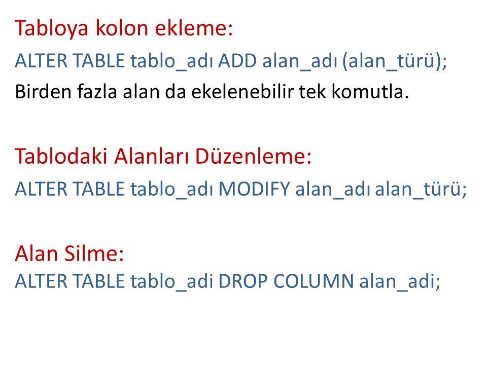 Tabloya kolon ekleme: ALTER TABLE tablo_adı ADD alan_adı (alan_türü); Birden fazla alan da ekelenebilir tek komutla. Tablodaki Alanları Düzenleme: ALT