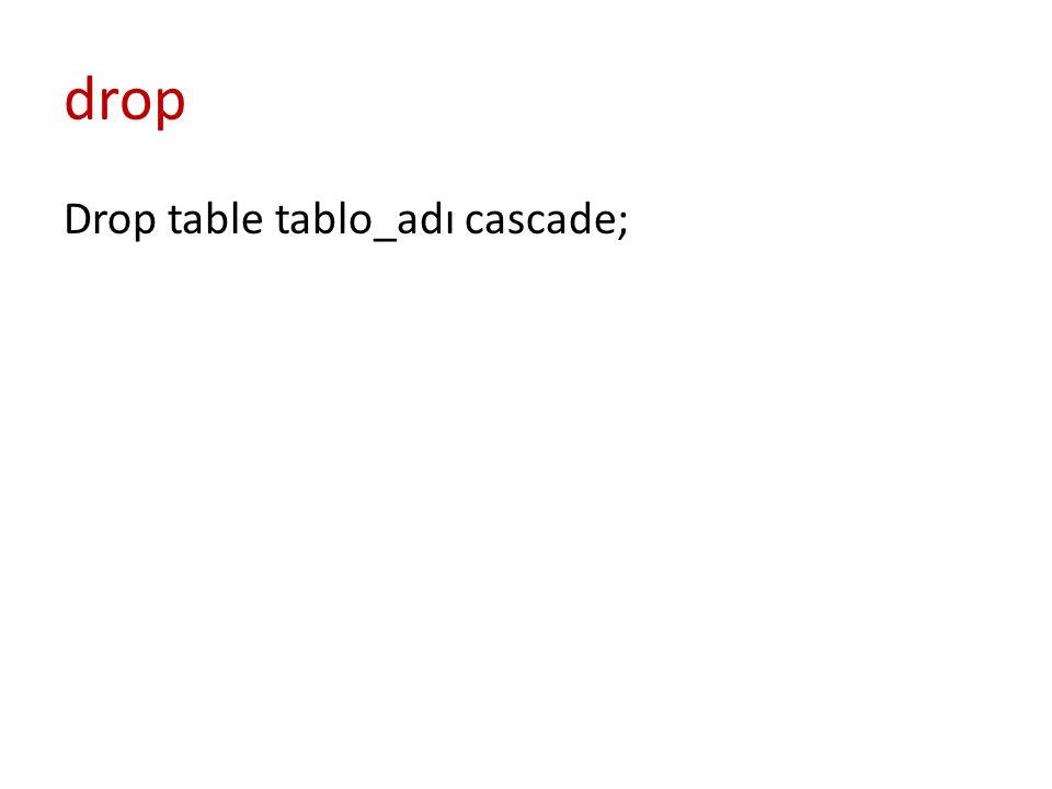drop Drop table tablo_adı cascade;