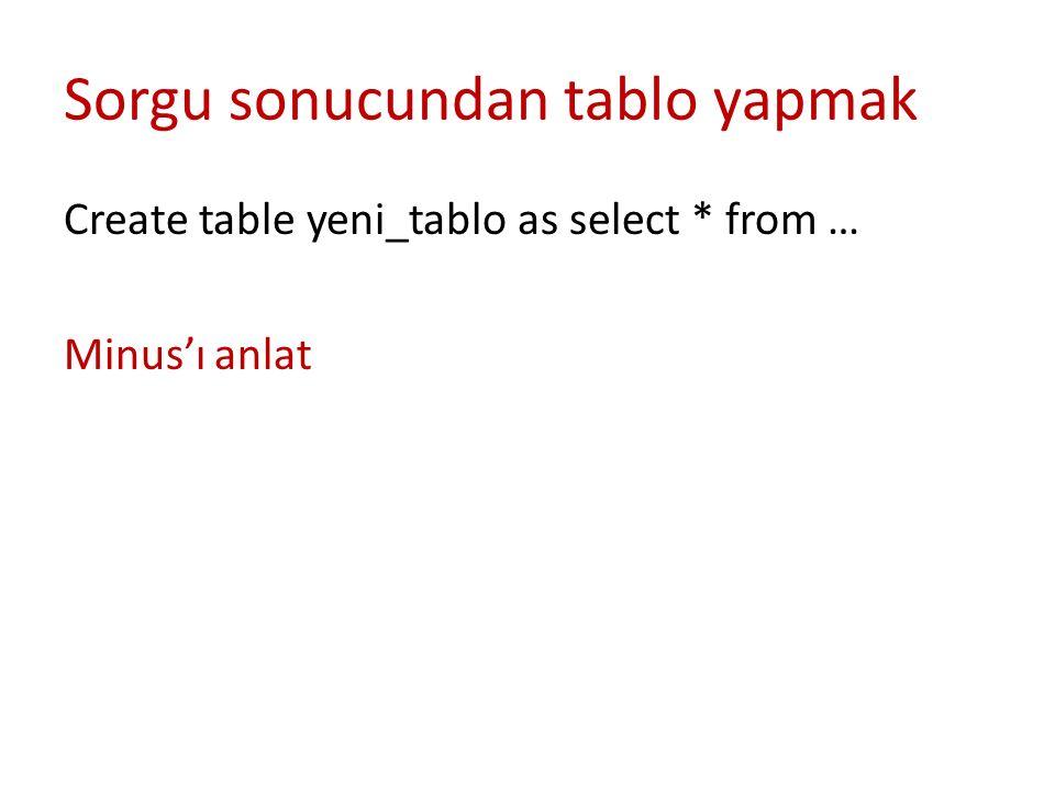 Sorgu sonucundan tablo yapmak Create table yeni_tablo as select * from … Minus'ı anlat