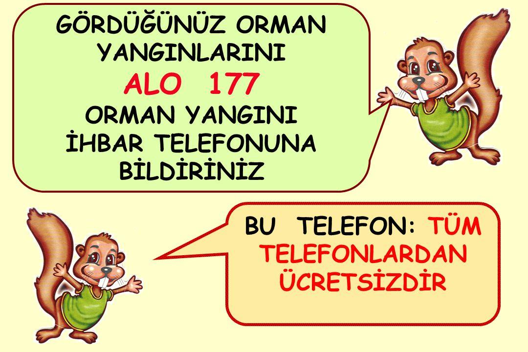 GÖRDÜĞÜNÜZ ORMAN YANGINLARINI ALO 177 ORMAN YANGINI İHBAR TELEFONUNA BİLDİRİNİZ BU TELEFON: TÜM TELEFONLARDAN ÜCRETSİZDİR