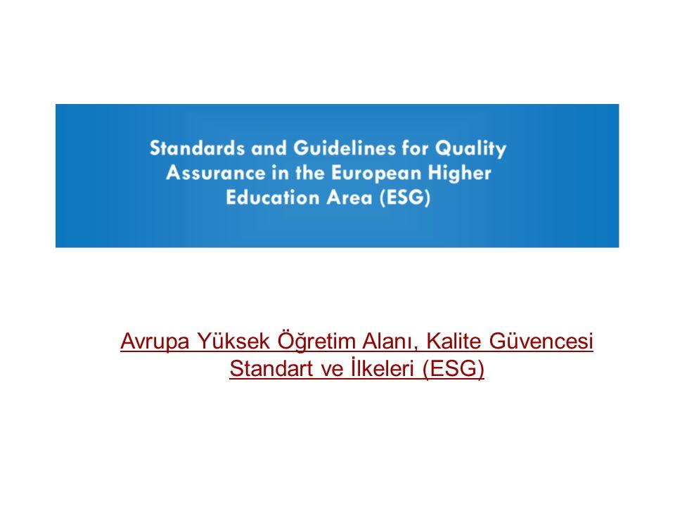 Avrupa Yüksek Öğretim Alanı, Kalite Güvencesi Standart ve İlkeleri (ESG)