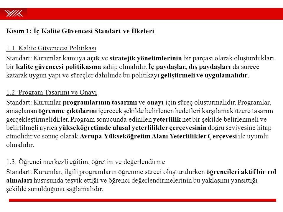 Kısım 1: İç Kalite Güvencesi Standart ve İlkeleri 1.1. Kalite Güvencesi Politikası Standart: Kurumlar kamuya açık ve stratejik yönetimlerinin bir parç