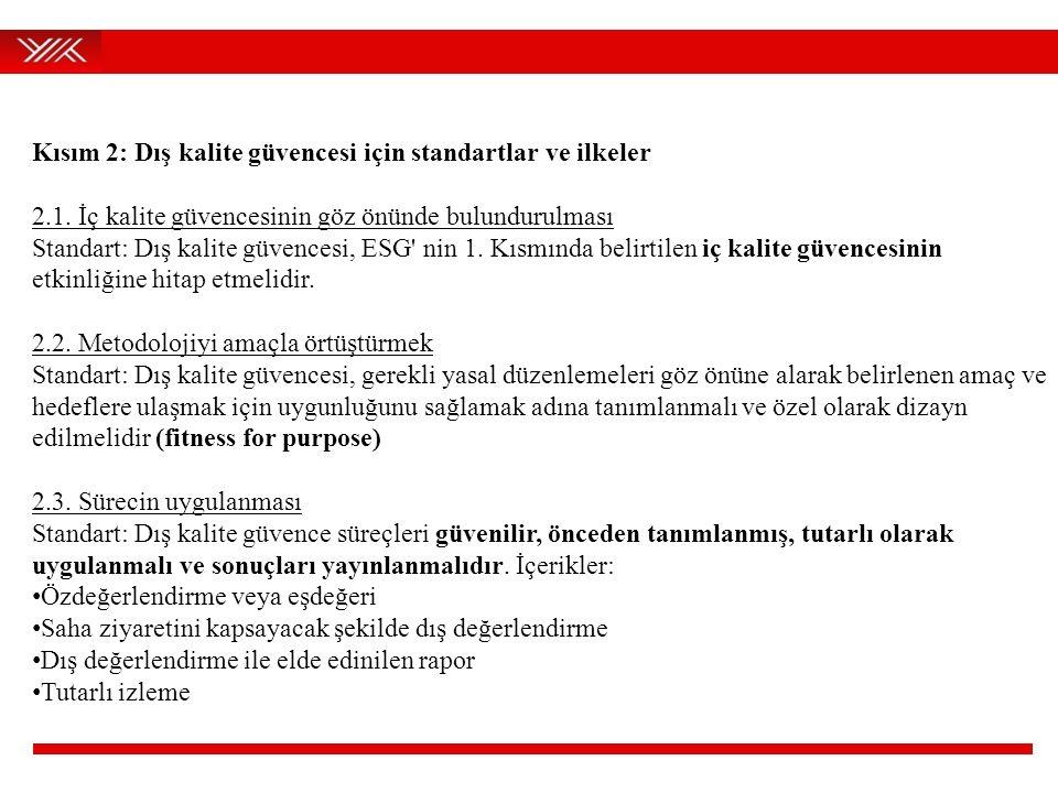 Kısım 2: Dış kalite güvencesi için standartlar ve ilkeler 2.1. İç kalite güvencesinin göz önünde bulundurulması Standart: Dış kalite güvencesi, ESG' n