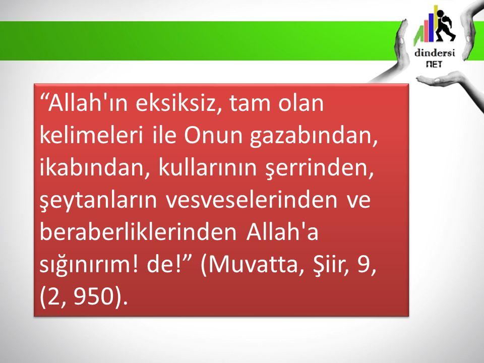 """""""Allah'ın eksiksiz, tam olan kelimeleri ile Onun gazabından, ikabından, kullarının şerrinden, şeytanların vesveselerinden ve beraberliklerinden Allah'"""