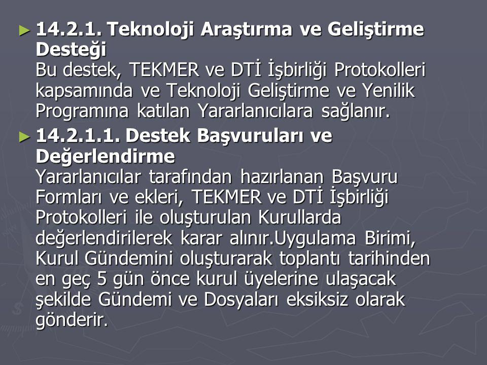► 14.2.1. Teknoloji Araştırma ve Geliştirme Desteği Bu destek, TEKMER ve DTİ İşbirliği Protokolleri kapsamında ve Teknoloji Geliştirme ve Yenilik Prog