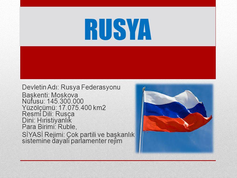 RUSYA'NIN FİZİKİ ÖZELLİKLERİ Toprak bakımından dünyanın en büyük ülkesidir.