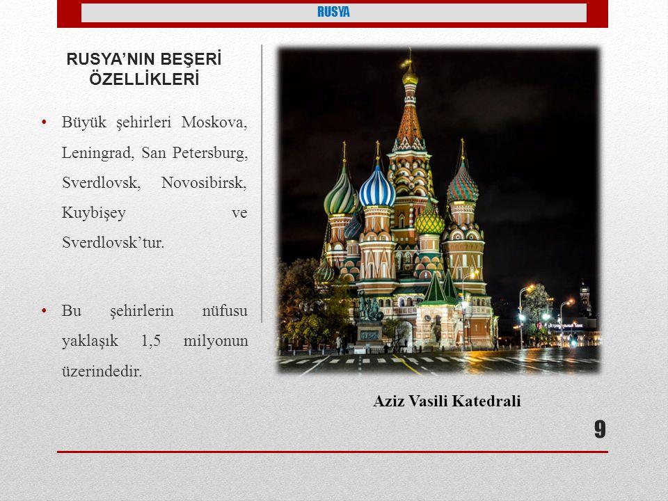RUSYA'NIN BEŞERİ ÖZELLİKLERİ Büyük şehirleri Moskova, Leningrad, San Petersburg, Sverdlovsk, Novosibirsk, Kuybişey ve Sverdlovsk'tur.