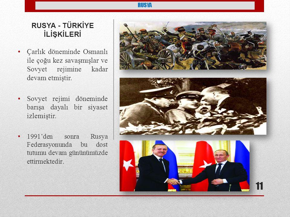 RUSYA - TÜRKİYE İLİŞKİLERİ Çarlık döneminde Osmanlı ile çoğu kez savaşmışlar ve Sovyet rejimine kadar devam etmiştir.