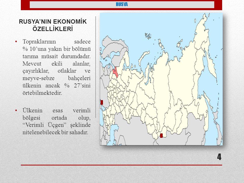 RUSYA'NIN EKONOMİK ÖZELLİKLERİ Sanayisi gelişmiş ülkeler arasında yer alır.
