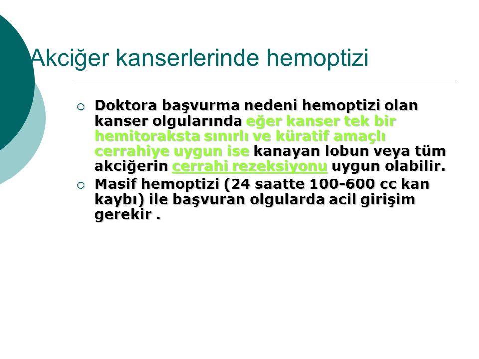 Akciğer kanserlerinde hemoptizi  Doktora başvurma nedeni hemoptizi olan kanser olgularında eğer kanser tek bir hemitoraksta sınırlı ve küratif amaçlı