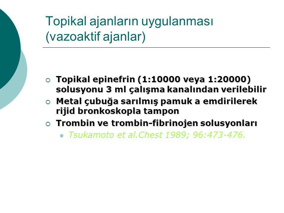 Topikal ajanların uygulanması (vazoaktif ajanlar)  Topikal epinefrin (1:10000 veya 1:20000) solusyonu 3 ml çalışma kanalından verilebilir  Metal çub