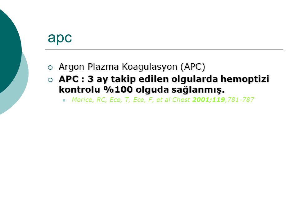 apc  Argon Plazma Koagulasyon (APC)  APC : 3 ay takip edilen olgularda hemoptizi kontrolu %100 olguda sağlanmış. Morice, RC, Ece, T, Ece, F, et al C
