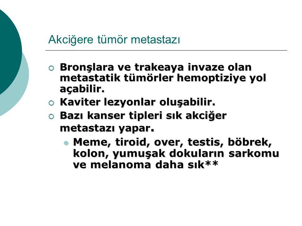 Akciğere tümör metastazı  Bronşlara ve trakeaya invaze olan metastatik tümörler hemoptiziye yol açabilir.  Kaviter lezyonlar oluşabilir.  Bazı kans
