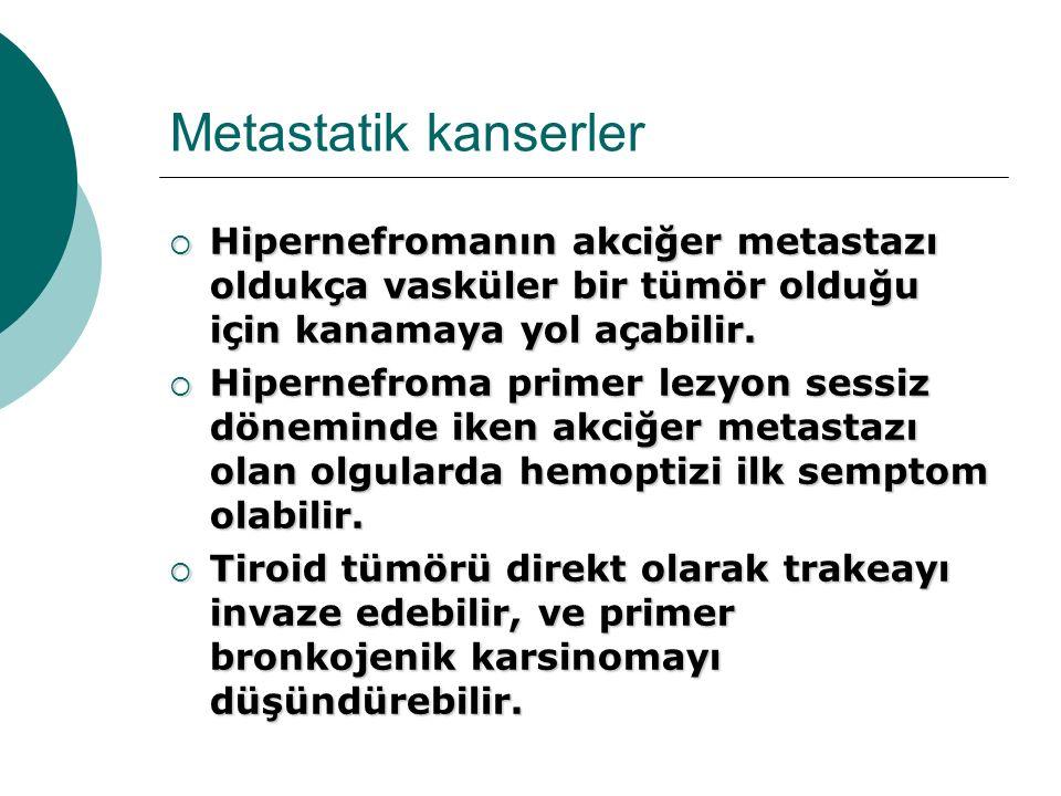 Metastatik kanserler  Hipernefromanın akciğer metastazı oldukça vasküler bir tümör olduğu için kanamaya yol açabilir.  Hipernefroma primer lezyon se