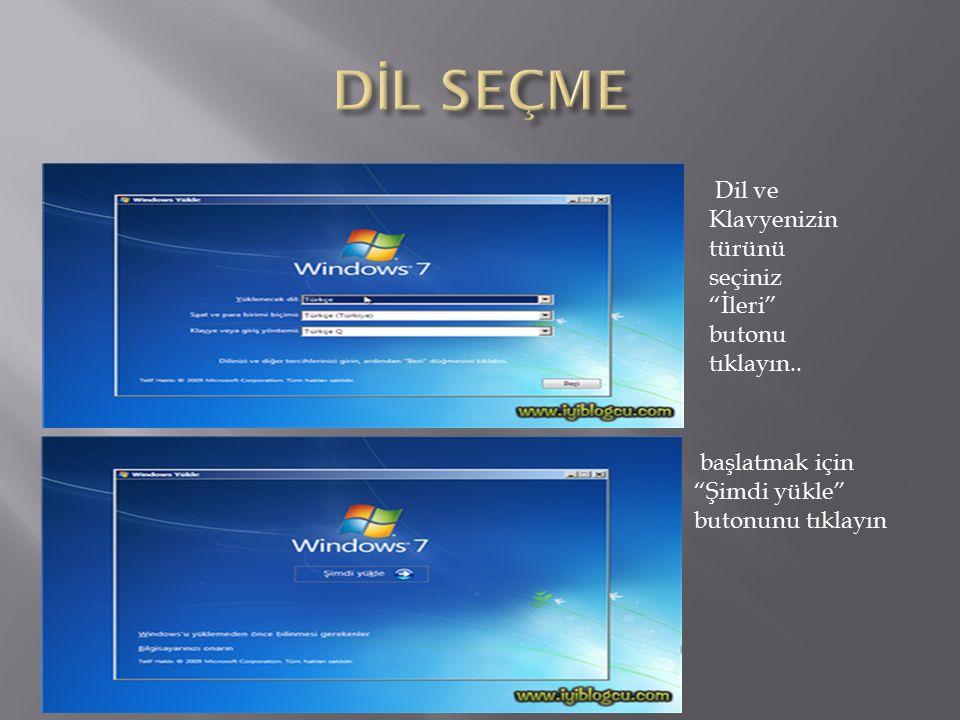 Windows 7 Kurulum CD/DVD' si yerleştirip DVD-Room boot ettiğinizde resimde görüldüğü gibi Cd' den veya DVD' den önyükleme için bir tuşa basın… yazısını gördüğünüzde Enter tuşuna basın..