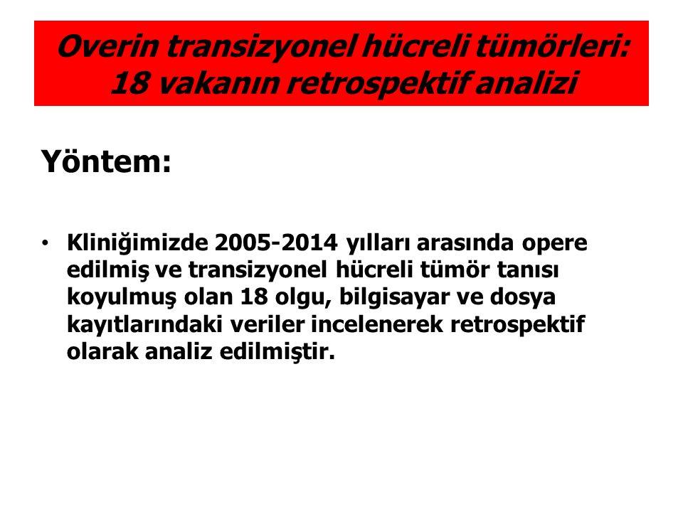 Yöntem: Kliniğimizde 2005-2014 yılları arasında opere edilmiş ve transizyonel hücreli tümör tanısı koyulmuş olan 18 olgu, bilgisayar ve dosya kayıtlar