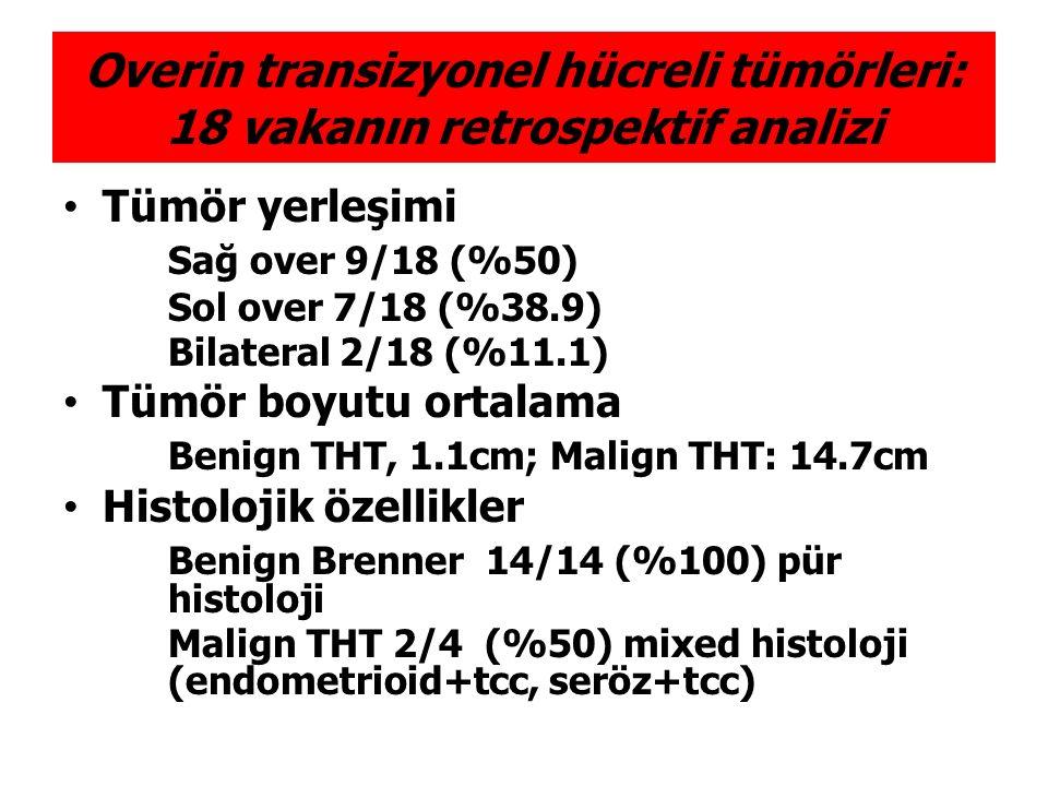 Tümör yerleşimi Sağ over 9/18 (%50) Sol over 7/18 (%38.9) Bilateral 2/18 (%11.1) Tümör boyutu ortalama Benign THT, 1.1cm; Malign THT: 14.7cm Histoloji