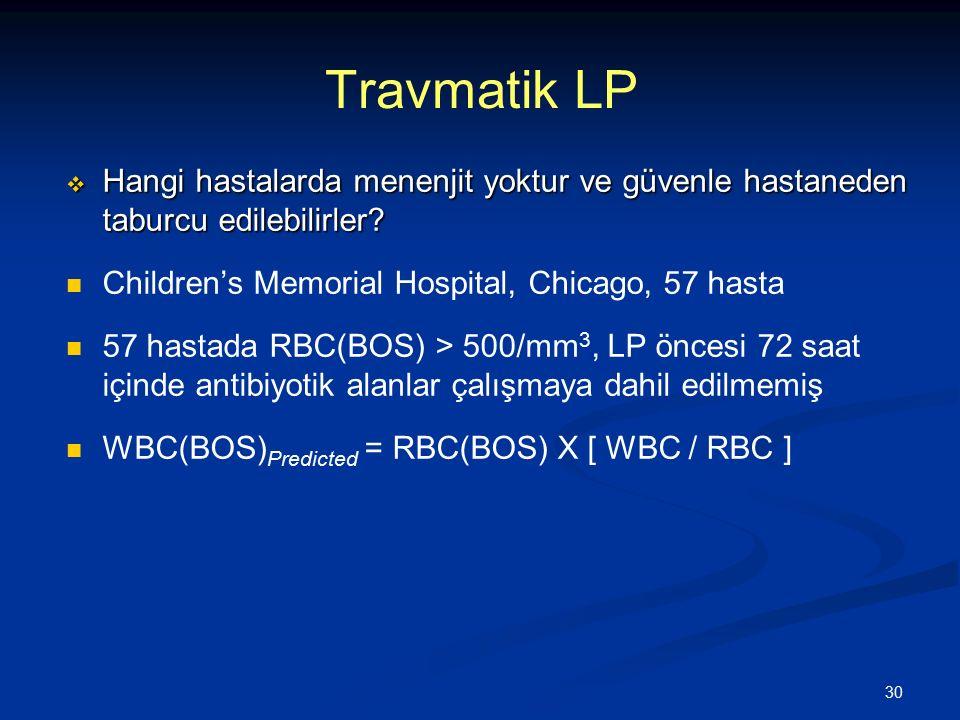 30 Travmatik LP  Hangi hastalarda menenjit yoktur ve güvenle hastaneden taburcu edilebilirler? Children's Memorial Hospital, Chicago, 57 hasta 57 has