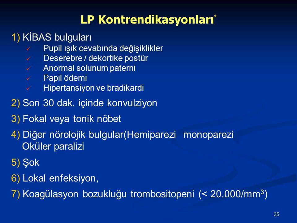 35 LP Kontrendikasyonları * 1) KİBAS bulguları Pupil ışık cevabında değişiklikler Deserebre / dekortike postür Anormal solunum paterni Papil ödemi Hip