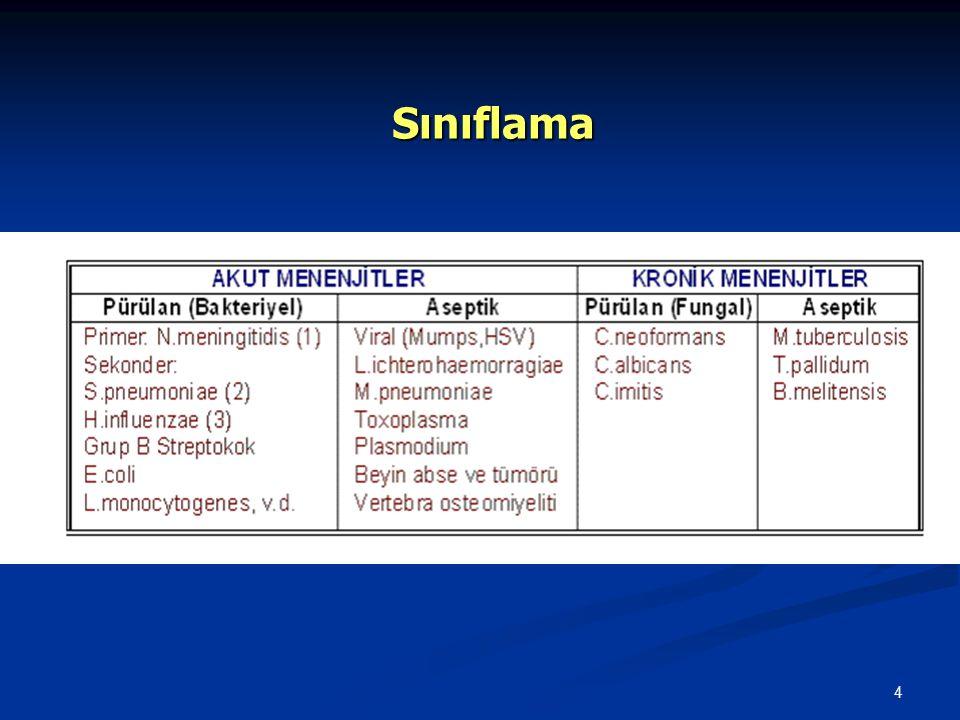 5 Etiyoloji   Çocukluk çağı bakteriyel menenjitlerinin %95'inden fazlasında üç mikroorganizma sorumludur: S.
