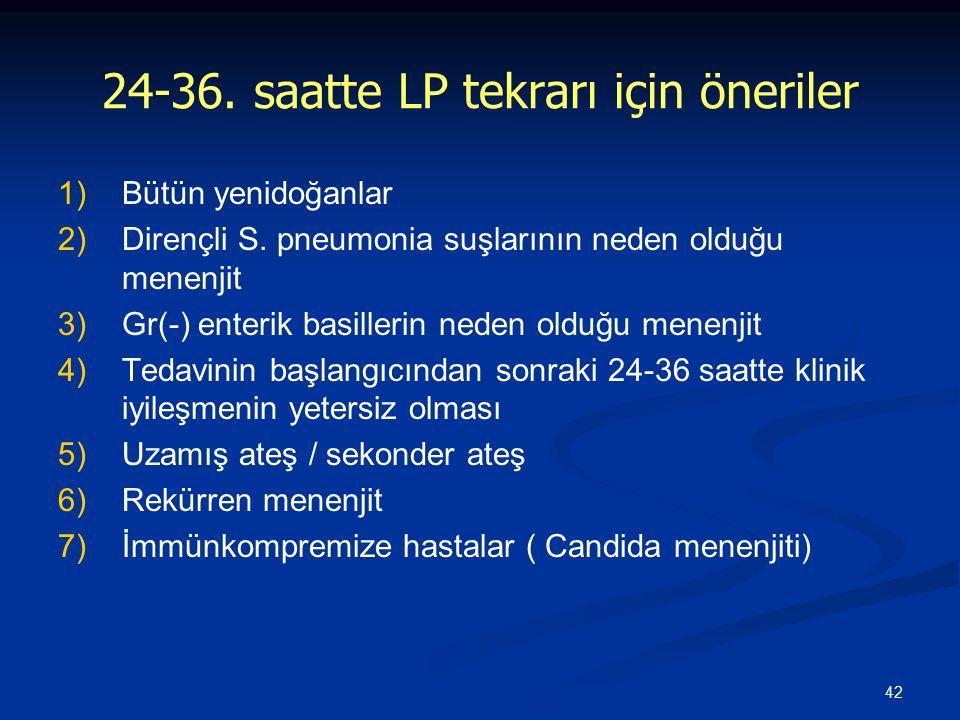 42 24-36. saatte LP tekrarı için öneriler 1) 1)Bütün yenidoğanlar 2) 2)Dirençli S. pneumonia suşlarının neden olduğu menenjit 3) 3)Gr(-) enterik basil
