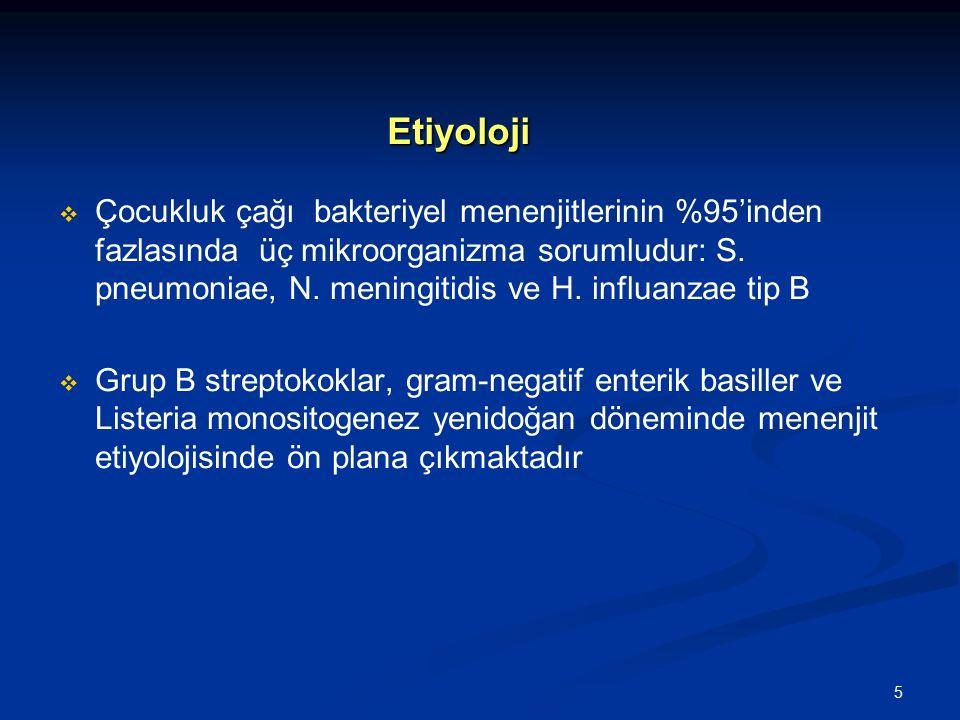 6 Etyoloji (0-3 ay) Etyoloji (0-3 ay) Bakteriler Bakteriler  Grup B streptokoklar (serotip-III)  E.