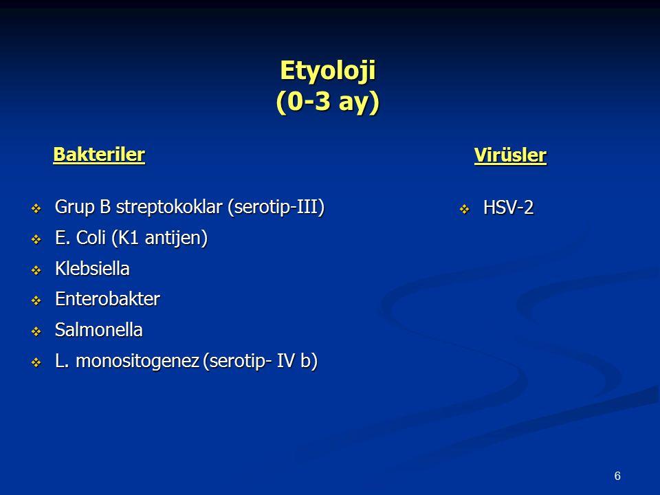 6 Etyoloji (0-3 ay) Etyoloji (0-3 ay) Bakteriler Bakteriler  Grup B streptokoklar (serotip-III)  E. Coli (K1 antijen)  Klebsiella  Enterobakter 