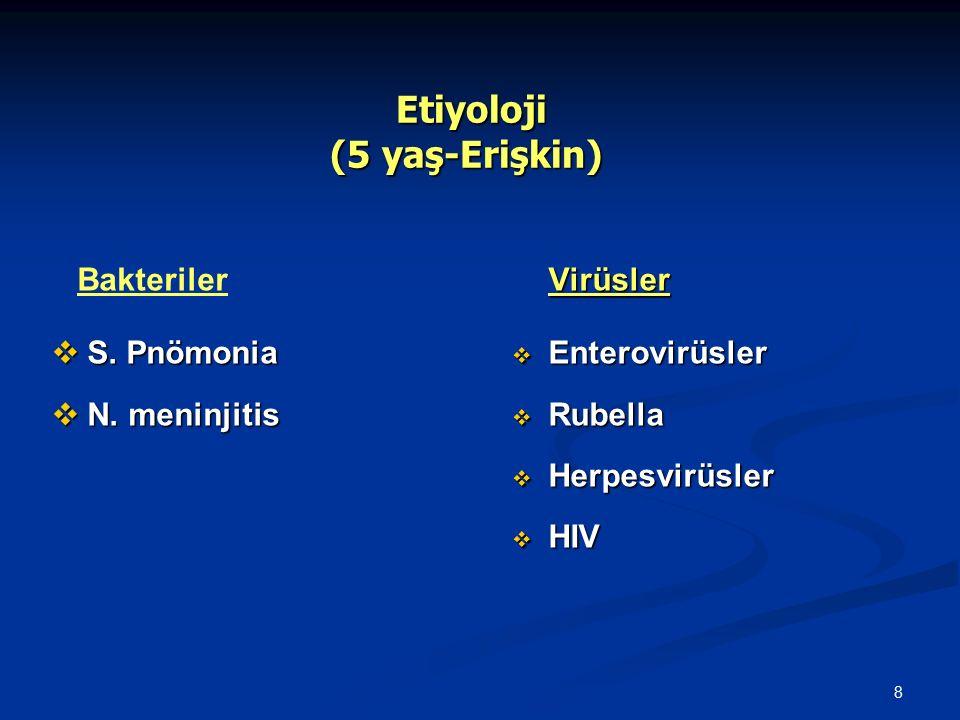 8 Etiyoloji (5 yaş-Erişkin) Etiyoloji (5 yaş-Erişkin) Bakteriler  S. Pnömonia  N. meninjitis Virüsler  Enterovirüsler  Rubella  Herpesvirüsler 