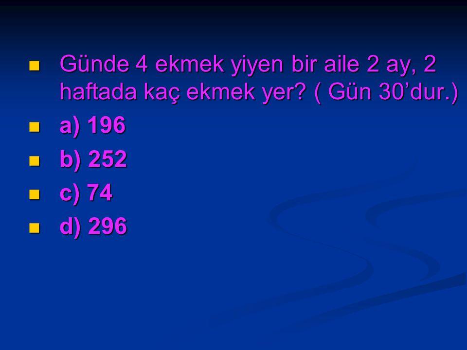 Bir bölme işleminde bölen 7, bölüm 6'dır. Bölünen sayı kaçtır? Bir bölme işleminde bölen 7, bölüm 6'dır. Bölünen sayı kaçtır? a) 21 a) 21 b) 42 b) 42