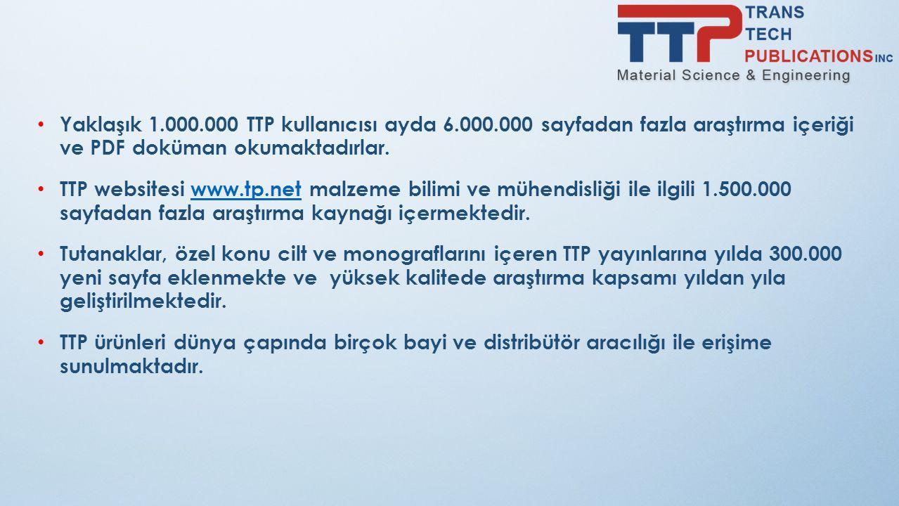 Yaklaşık 1.000.000 TTP kullanıcısı ayda 6.000.000 sayfadan fazla araştırma içeriği ve PDF doküman okumaktadırlar.