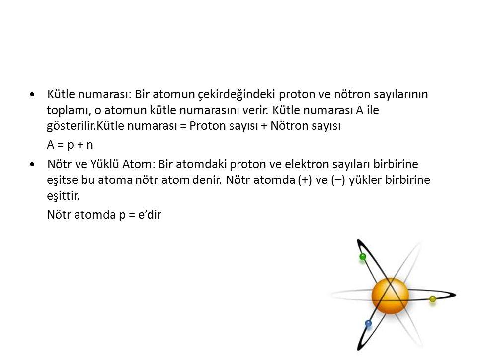 Kütle numarası: Bir atomun çekirdeğindeki proton ve nötron sayılarının toplamı, o atomun kütle numarasını verir. Kütle numarası A ile gösterilir.Kütle
