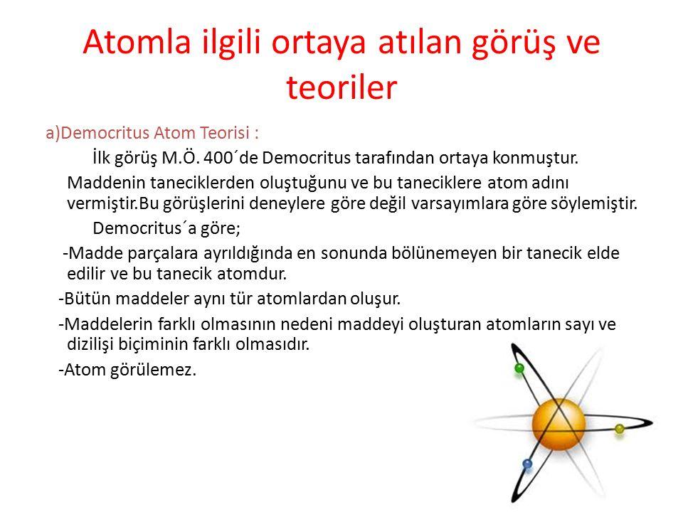Atomla ilgili ortaya atılan görüş ve teoriler a)Democritus Atom Teorisi : İlk görüş M.Ö. 400´de Democritus tarafından ortaya konmuştur. Maddenin tanec