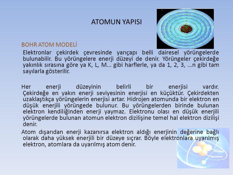 ATOMUN YAPISI BOHR ATOM MODELİ Elektronlar çekirdek çevresinde yarıçapı belli dairesel yörüngelerde bulunabilir. Bu yörüngelere enerji düzeyi de denir