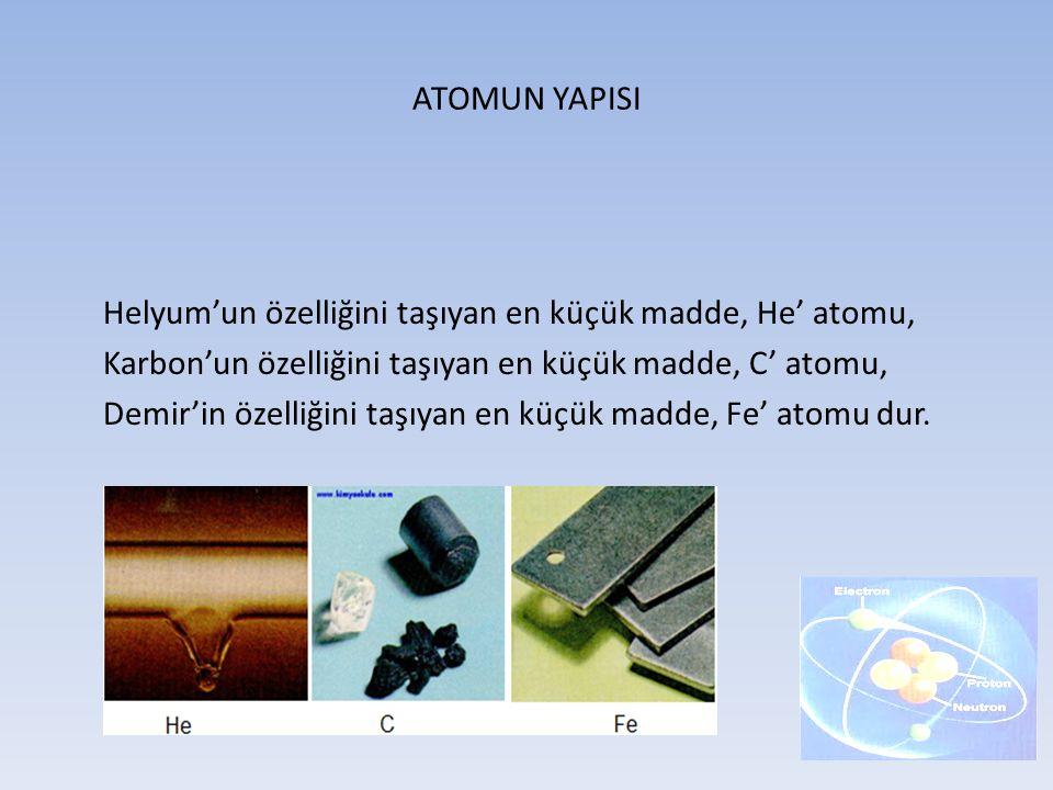ATOMUN YAPISI Helyum'un özelliğini taşıyan en küçük madde, He' atomu, Karbon'un özelliğini taşıyan en küçük madde, C' atomu, Demir'in özelliğini taşıy