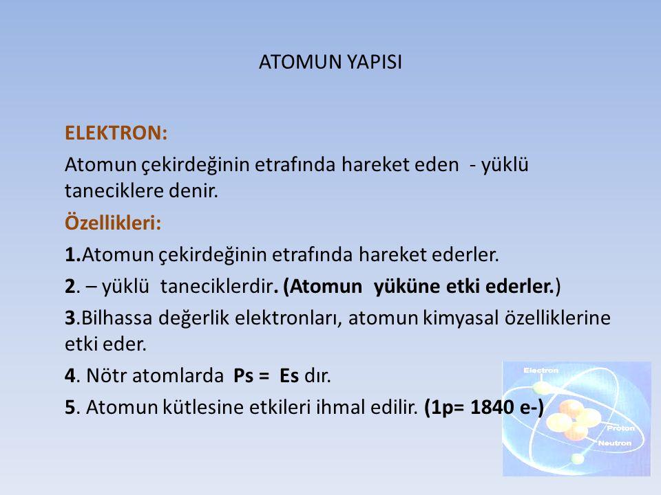 ATOMUN YAPISI ELEKTRON: Atomun çekirdeğinin etrafında hareket eden - yüklü taneciklere denir. Özellikleri: 1.Atomun çekirdeğinin etrafında hareket ede