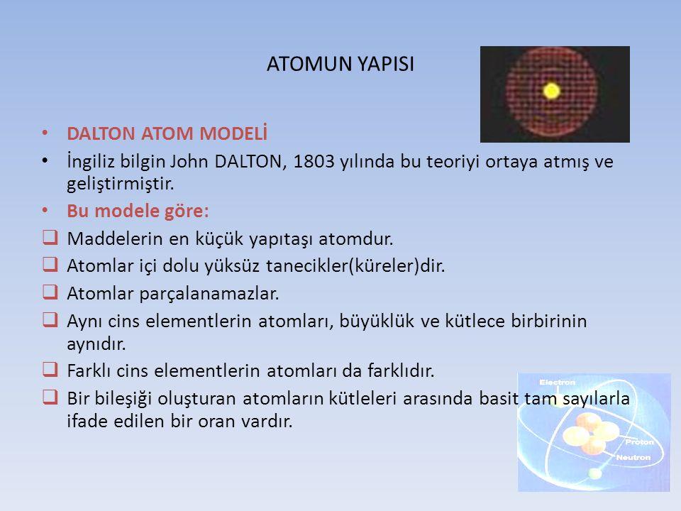 ATOMUN YAPISI DALTON ATOM MODELİ İngiliz bilgin John DALTON, 1803 yılında bu teoriyi ortaya atmış ve geliştirmiştir. Bu modele göre:  Maddelerin en k