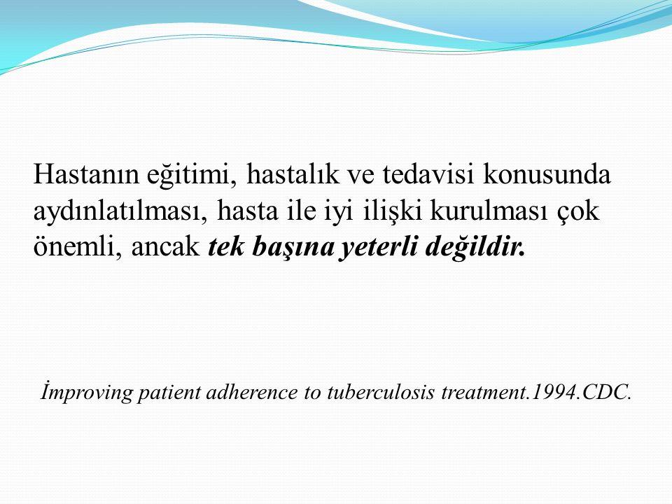 Hastanın eğitimi, hastalık ve tedavisi konusunda aydınlatılması, hasta ile iyi ilişki kurulması çok önemli, ancak tek başına yeterli değildir. İmprovi