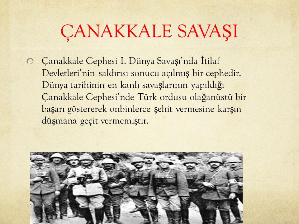 ÇANAKKALE SAVA Ş I Çanakkale Cephesi I.