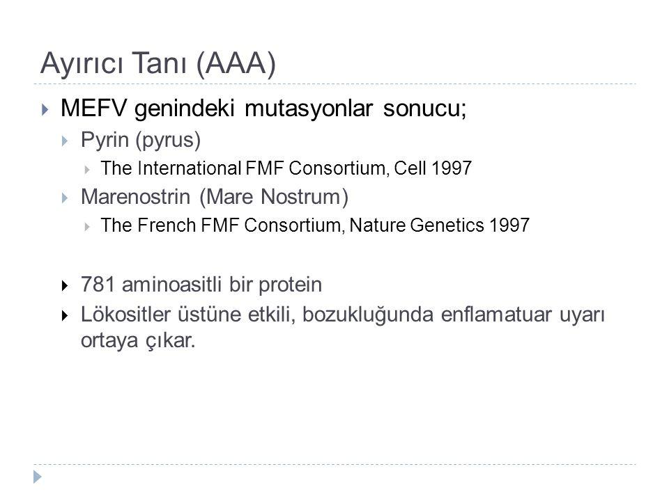 Ayırıcı Tanı (AAA)  MEFV genindeki mutasyonlar sonucu;  Pyrin (pyrus)  The International FMF Consortium, Cell 1997  Marenostrin (Mare Nostrum)  T