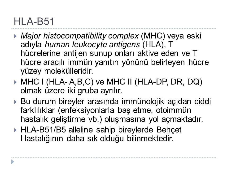 HLA-B51  Major histocompatibility complex (MHC) veya eski adıyla human leukocyte antigens (HLA), T hücrelerine antijen sunup onları aktive eden ve T